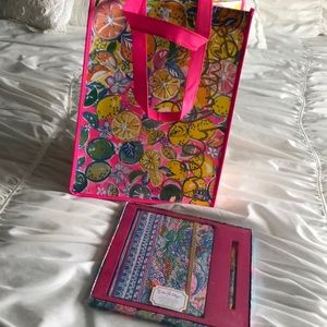 Lilly Pulitzer shopper bag, journal and pen set